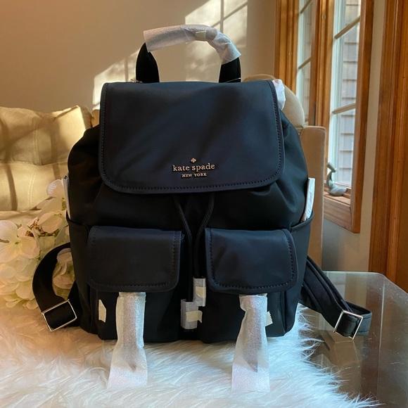 Kate Spade Carley Black Nylon Large Flap Backpack